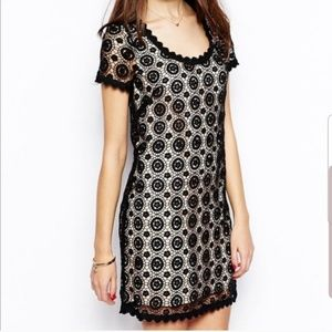 French Connection Black Crochet Lace Dress Size 4